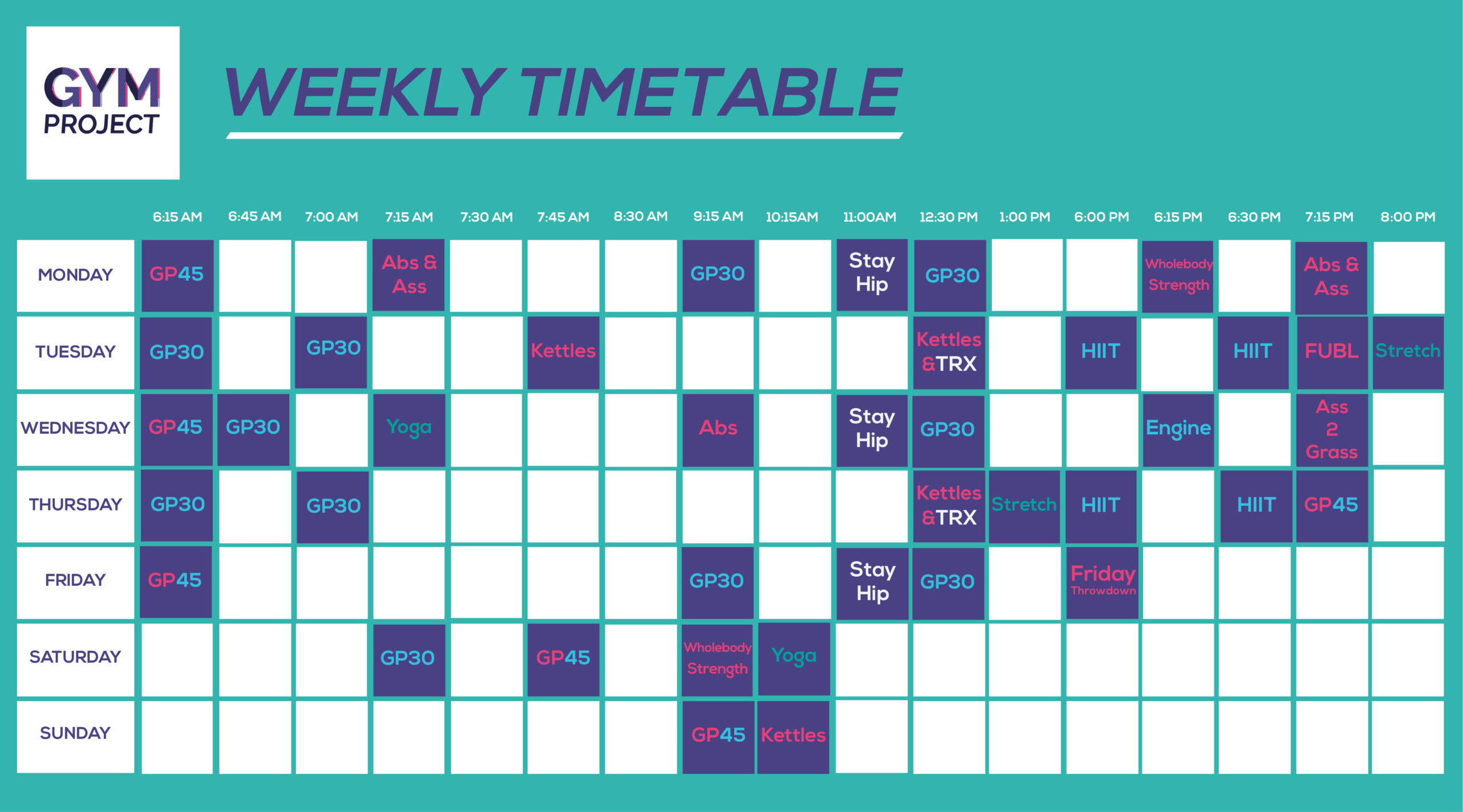 Gym Project Timetable - September 2020